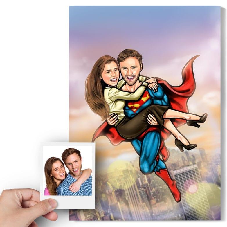 superman couple caricature